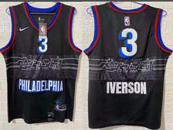 Mens Nba Philadelphia 76ers #3 Allen Iverson Black 2020-21 City Edition Nike Swingman Jersey