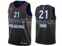 Mens Nba Philadelphia 76ers #21 Joel Embiid Black 2020-21 City Edition Nike Swingman Jersey