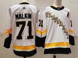Mens Nhl Pittsburgh Penguins #71 Evgeni Malkin White 2021 Reverse Retro Alternate Adidas Jersey