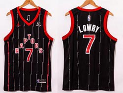 Mens Nba Toronto Raptors #7 Kyle Lowry 2021 Black Stripe City Edition Nike Swingman Jersey