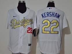 Mens Mlb Los Angeles Dodgers #22 Clayton Kershaw White Golden Nike 2020 World Series Champions Flex Base Jersey