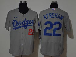 Mens Mlb Los Angeles Dodgers #22 Clayton Kershaw Gray Flex Base Nike Jersey