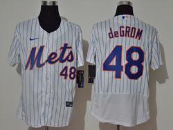 Mens Mlb New York Mets #48 Jacob Degrom White Stripe Flex Base Nike Jersey