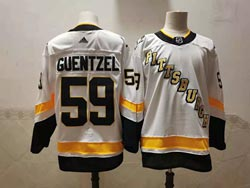 Mens Nhl Pittsburgh Penguins #59 Jake Guentzel White 2021 Reverse Retro Alternate Adidas Jersey
