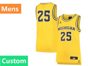 Mens Ncaa Nba Michigan Wolverines Custom Made Yellow Jordan Brand Jersey