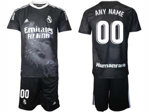 Mens 20-21 Soccer Real Madrid Club ( Custom Made ) Black Adidas Short Sleeve Suit Jersey