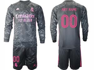 Mens 20-21 Soccer Real Madrid Club ( Custom Made ) Black Second Away Long Sleeve Suit Jersey