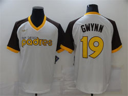 Mens Mlb San Diego Padres #19 Tony Gwynn White Throwbacks V Neck Cool Base Nike Jersey