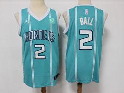 Mens Nba New Orleans Hornets #2 Lonzo Ball Green Stripe 2021 Mitchell&ness Swingman Nike Jersey