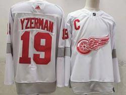 Mens Nhl Detroit Red Wings #19 Steve Yzerma White 2021 Reverse Retro Alternate Adidas Jersey