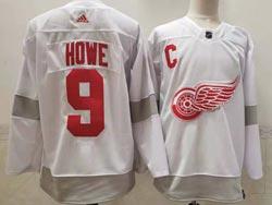 Mens Nhl Detroit Red Wings #9 Gordie Howe White 2021 Reverse Retro Alternate Adidas Jersey
