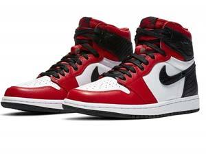 Mens Nike Air Jordan 1 Retro High Stain Snake Chicago Running Shoes Red