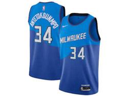 Mens Nba Milwaukee Bucks #34 Giannis Antetokounmpo Blue 2020-21 City Edition Swingman Nike Jersey