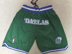 Mens Nba Dallas Mavericks Green Just Do Pocket Shorts