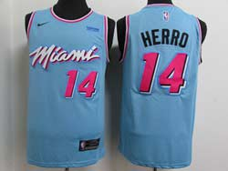 Mens Nba Miami Heat #14 Tyler Herro Light Blue City Edition Swingman Nike Jersey