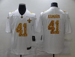 Mens Nfl New Orleans Saints #41 Alvin Kamara White Leopard Vapor Untouchable Limited Nike Jersey