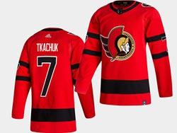 Mens Nhl Ottawa Senators #7 Brady Tkachuk Red 2021 Reverse Retro Alternate Adidas Jersey