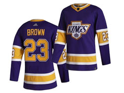 Mens Nhl Los Angeles Kings #23 Dustin Brown Purple 2021 Reverse Retro Alternate Adidas Jersey