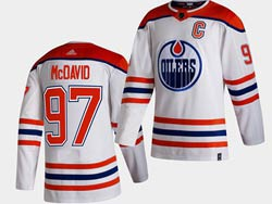 Mens Nhl Edmonton Oilers #97 Connor Mcdavid White 2021 Reverse Retro Alternate Adidas Jersey