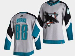 Mens San Jose Sharks #88 Brent Burns White 2021 Reverse Retro Alternate Adidas Jersey