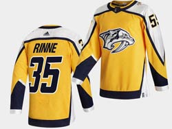 Mens Nhl Nashville Predators #35 Pekka Rinne Yellow 2021 Reverse Retro Alternate Adidas Jersey