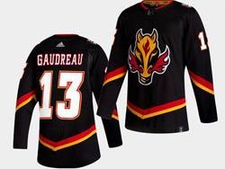 Mens Nhl Calgary Flames #13 Johnny Gaudreau Black 2021 Reverse Retro Alternate Adidas Jersey