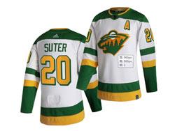 Mens Nhl Minnesota Wild #20 Ryan Suter White 2021 Reverse Retro Alternate Adidas Jersey