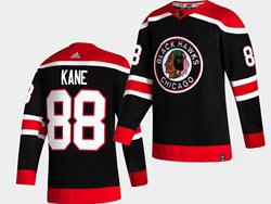Mens Nhl Chicago Blackhawks #88 Patrick Kane Black 2021 Reverse Retro Alternate Adidas Jersey