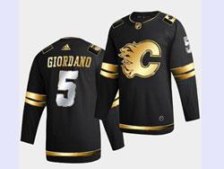 Mens Nhl Calgary Flames #5 Mark Giordano Black Golden Adidas Jersey