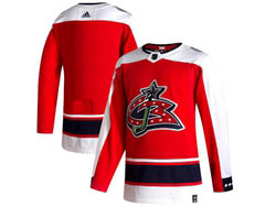 Mens Nhl Columbus Blue Jackets Blank  Red 2021 Reverse Retro Alternate Adidas Jersey