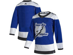 Mens Nhl Tampa Bay Lightning Blank Blue 2021 Reverse Retro Alternate Adidas Jersey