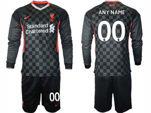 Mens 20-21 Soccer Liverpool Club ( Custom Made ) Black Second Away Long Sleeve Suit Jersey