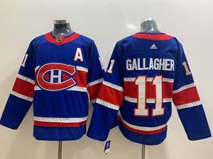 Mens Montreal Canadiens #11 Brendan Gallagher Blue 2021 Reverse Retro Alternate Adidas Jersey