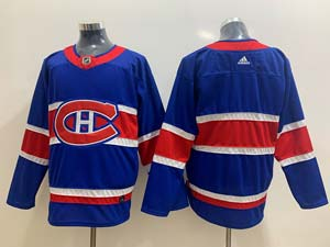 Mens Montreal Canadiens Blank Blue 2021 Reverse Retro Alternate Adidas Jersey