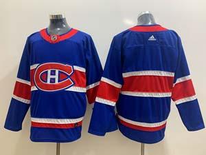 Mens Montreal Canadiens Blank Blue 2021 Reverse Retro Alternate Adidas Jersey