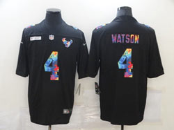 Mens Nfl Houston Texans #4 Deshaun Watson Black Shadow Logo Vapor Untouchable Limited Nike Jersey