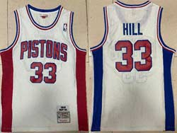 Mens Nba Detroit Pistons #33 Grant Hill White 1988-89 Mitchell&ness Hardwood Classics Swingman Jersey