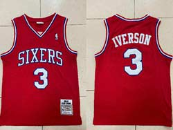 Mens Nba Philadelphia 76ers #3 Allen Iverson Red 2002-03 Mitchell&ness Hardwood Classics Swingman Jersey
