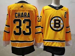 Mens Nhl Boston Bruins #33 Zdeno Chara Yellow 2021 Reverse Retro Alternate Adidas Jersey