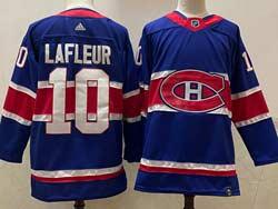 Mens Montreal Canadiens #10 Guy Lafleur Blue 2021 Reverse Retro Alternate Adidas Jersey