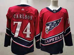 Mens Nhl Washington Capitals #74 John Carlso Red 2021 Reverse Retro Alternate Adidas Jersey