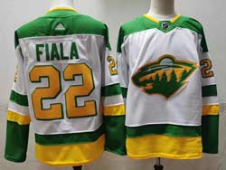 Mens Nhl Minnesota Wild #22 Kevin Fiala White 2021 Reverse Retro Alternate Adidas Jersey