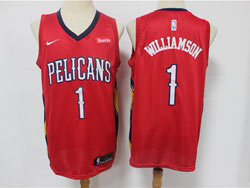 Mens New Orleans Hornets #1 Zion Williamson Red Swingman Nike Jersey