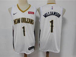 Mens New Orleans Hornets #1 Zion Williamson White Swingman Nike Jersey
