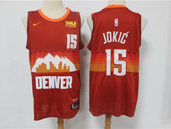Mens Nba Denver Nuggets #15 Nikola Jokic Red 2020-21 City Edition Swingman Nike Jersey