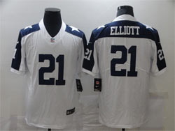 Mens Nfl Dallas Cowboys #21 Ezekiel Elliott White Thanksgiving Vapor Untouchable Limited Nike Jersey