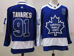 Mens Nhl Toronto Maple Leafs #91 John Tavares Blue 2021 Reverse Retro Alternate Adidas Jersey