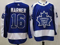 Mens Nhl Toronto Maple Leafs #16 Mitchell Marner Blue 2021 Reverse Retro Alternate Adidas Jersey