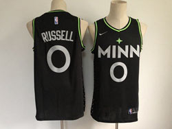 Mens Nba Minnesota Timberwolves #0 Russell Black 2020-21 City Edition Nike Swingman Jersey