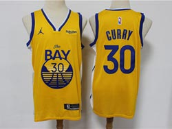 Mens Nba Golden State Warriors #30 Stephen Curry Orange 2021 Swingman Jordan Jersey